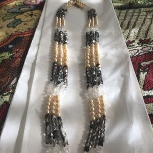 COLDWATER CREEK PEARL & CRYSTAL NECKLACE